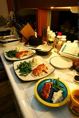 unbirthday dinner   salmon, green beans, garlic mash…