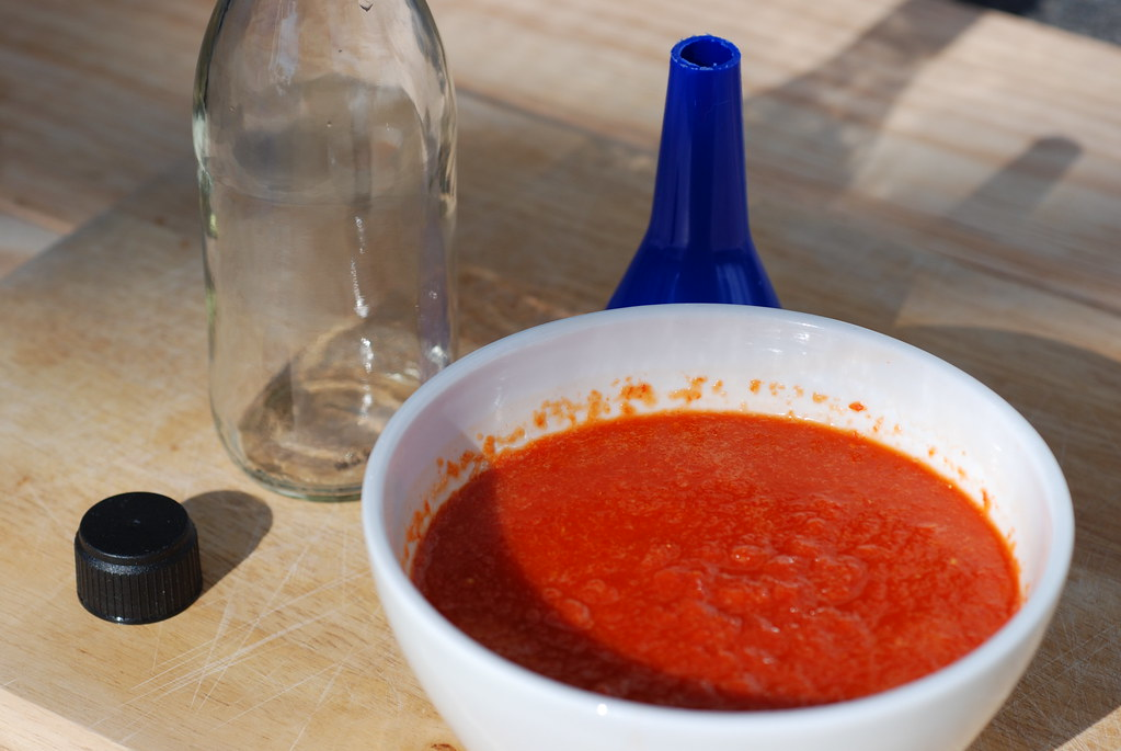 bottling hot pepper sauce