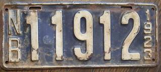 NEW BRUNSWICK 1923 license plate
