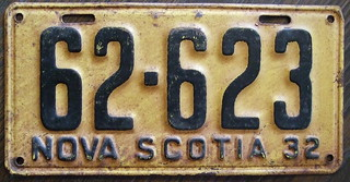 NOVA SCOTIA 1932 license plate