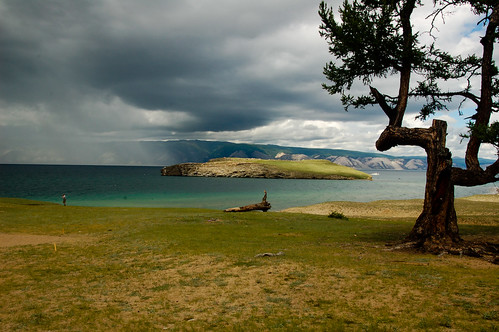 lake tree clouds island view russia tranquility siberia baikal olkhon