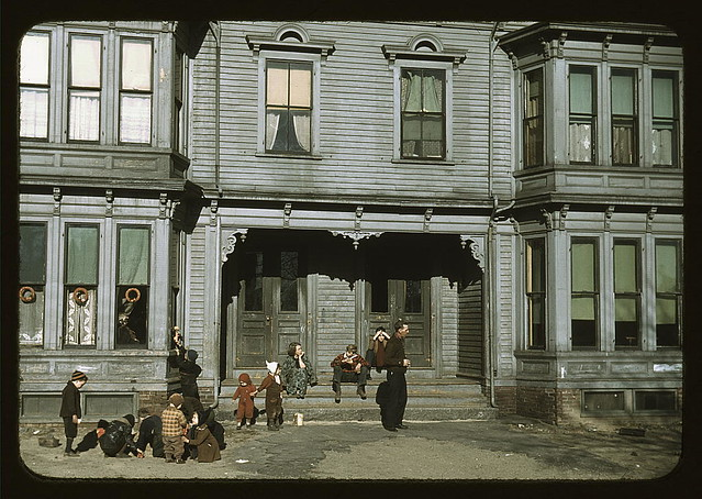[Children with adult in the tenement district, Brockton, Massachusetts] (LOC)