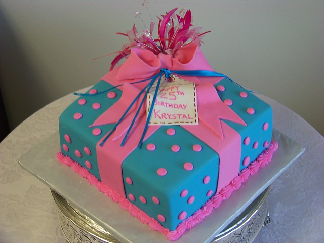 Pink Polka Dot and Blue Present Birthday Cake  Flickr - Photo Sharing ...