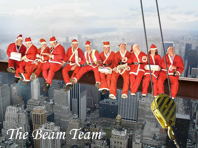 TQ Express homemade Christmas card 2007: Lunchtime on a skyscraper :