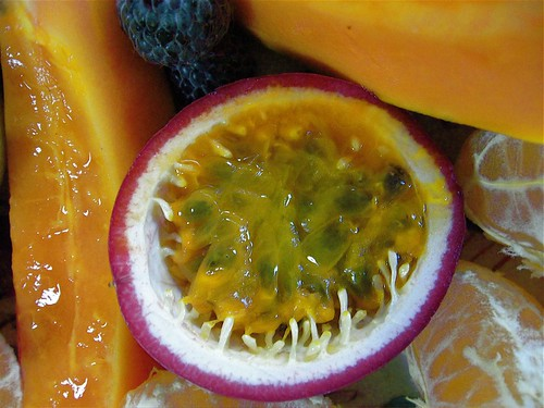Passion fruit, papaya breakfast