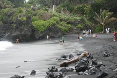 Visitors at the Black Sand Beach