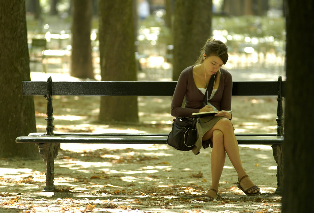 Young Woman Writing On A Park Bench 20060810 124620 Flickr