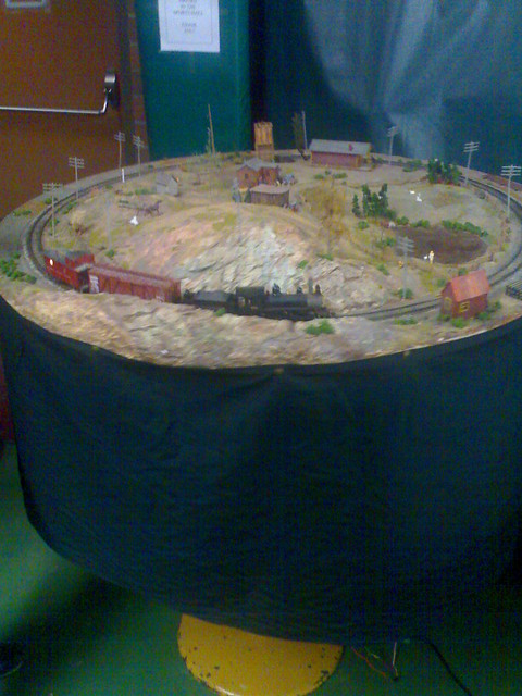 Model Train on a Rotating Table