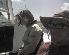 Monica and Steve out on Catalina 22
