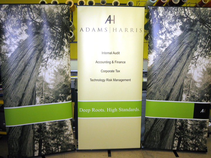 Retractable banner stands used in a series to make a backdrop - Chicago