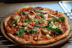 Pizza: Grilled chicken, artichoke hearts, and arugula