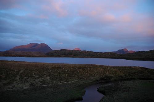 Sun down across Fionn Loch