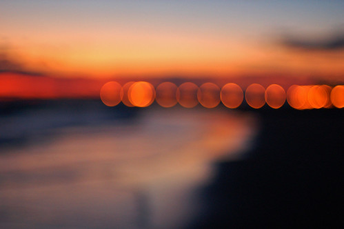 seaside sunset bokeh
