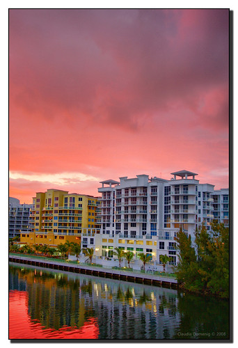 sunset red reflection clouds canal florida balcony handheld hdr aventura canonefs1022mmf3545usm 3exp theunforgettablepictures miamidadeco dphdr villagebythebay artedellafoto