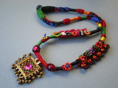 Old World Gold Textile / Crochet / Embroidery Necklace