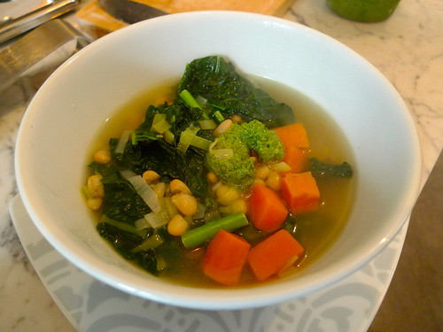 Derek made this tasty healthy soup - beautiful colors!