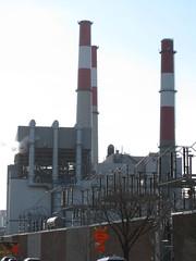 Smokestacks at the power plant