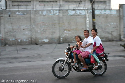 Family Speeding by on a Motorcycle, Angeles City