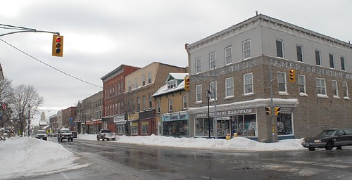 street winter panorama ontario buildings perth intersection lanarkcounty