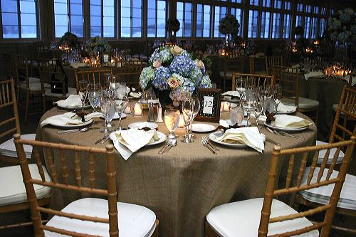 Hydrangea Tan Centerpieces Table Settings Wedding Reception