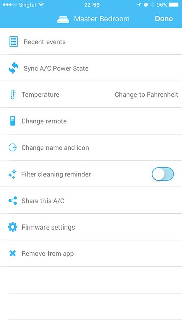 Sensibo iOS App - Air Conditioner Settings