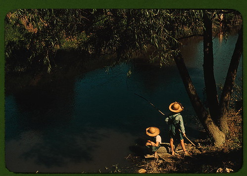 Boys fishing in a bayou, Schriever, La. Cajun children in a bayou near the school. Terrebonne, a Farm Security Administration project  (LOC)