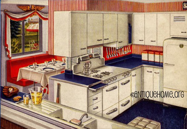 red white and blue 1950 s kitchen design red white