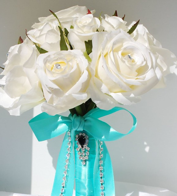Pool Blue Wedding Bouquets : White rose bouquet with tiffanyblueribbon flickr photo