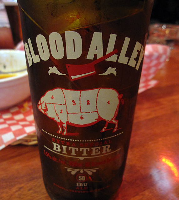 Blood Alley Bitter paired with spicy pork ribs