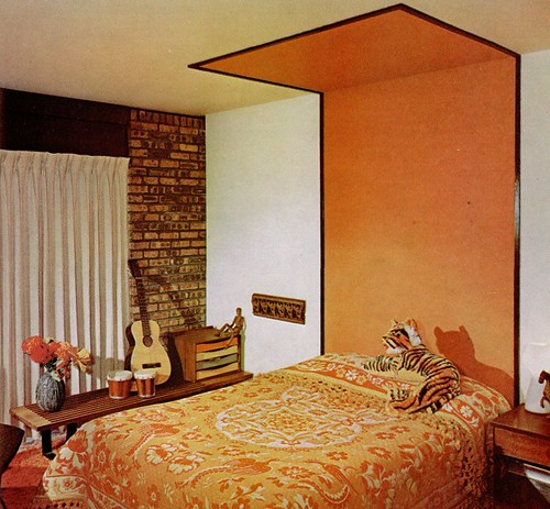 104th power of paint party tangerine tango domestically for Painted headboard on wall