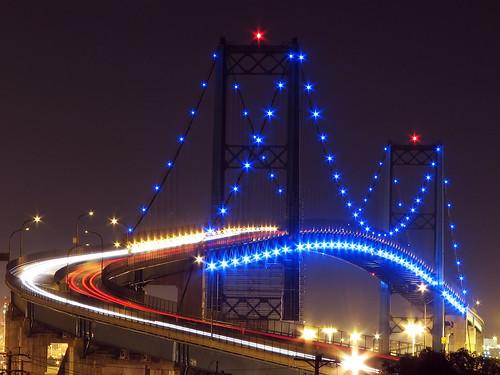 ca longexposure bridge blue light red white night port geotagged lights harbor losangeles thomas vincent explore sanpedro vincentthomasbridge calirornia canons3