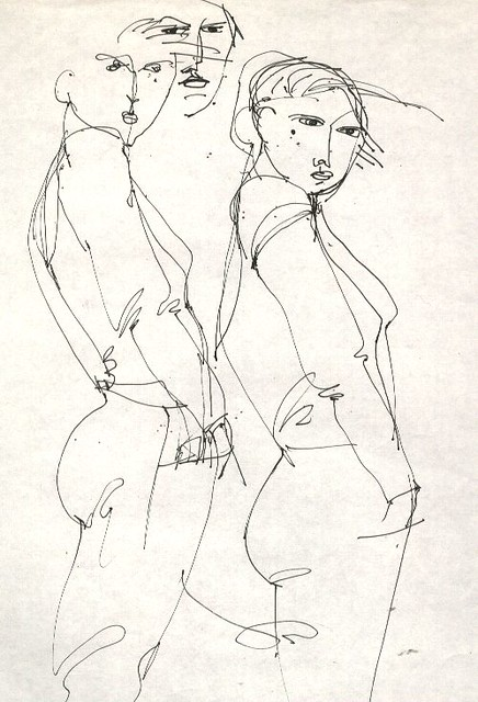 Line Art Figures : Line drawing two figures flickr photo sharing