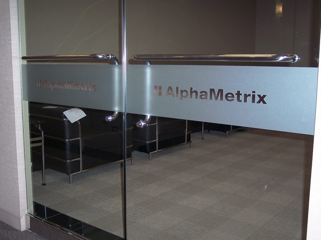 alphametrix-glass-door-vinyl. Alpha Metrix - Etched Vinyl Window Band. 1 Photo Etched Vinyl Window Band & Frosted Glass Vinyl Graphics - Privacy Film | Impact Signs Pezcame.Com