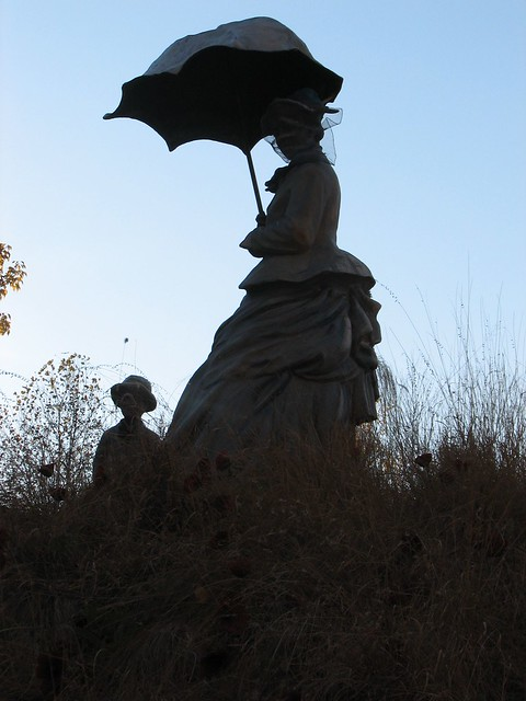 Silhouette of woman and child sculpture