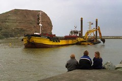 Dredging at Staithes, North Yorkshire, 24 April 2001.