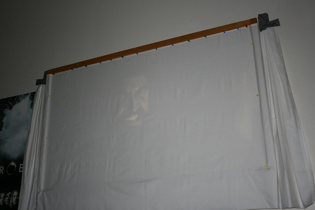 how to make a projector screen with a sheet
