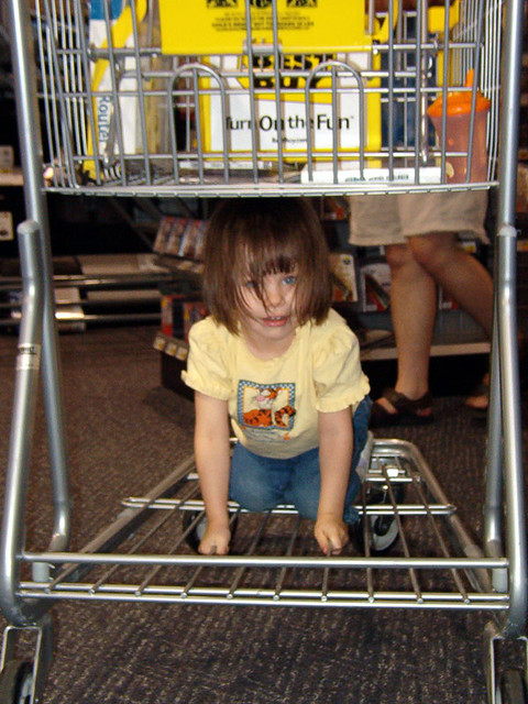 Laurel under a Best Buy cart