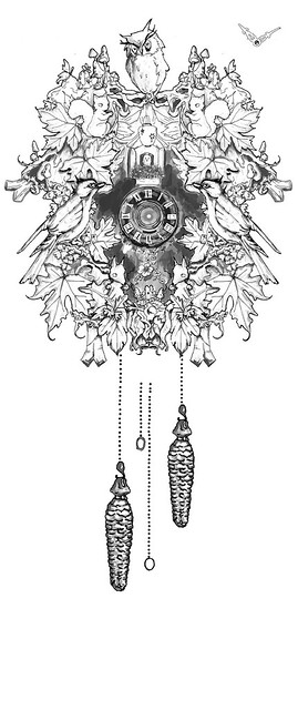 A cuckoo clock design for a tattoo commissioned by the lovely bubbly Kelli