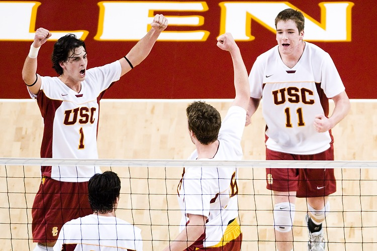 USC's C.J. Schellenberg #1, Austin Zahn #16, and Murphy Troy #11 celebrate a point during game two of No. 11 USC's 3-2 upset of No. 5 UCLA on January 23, 2008.