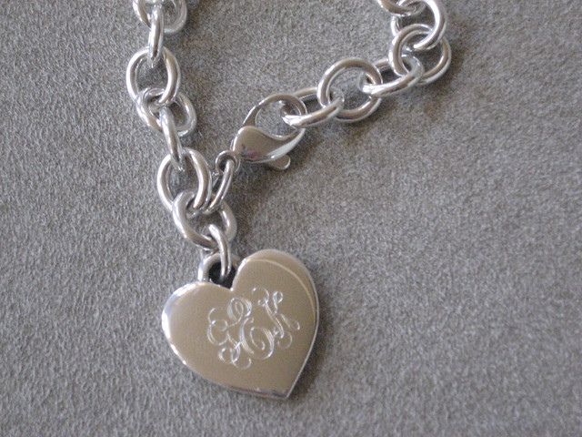 engraved silver heart charm bracelet flickr photo sharing