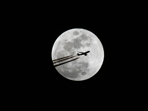 shadow moon silhouette airplane contrail full 747