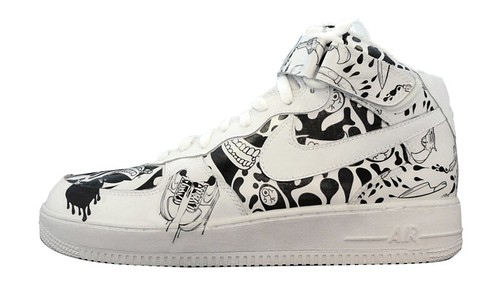 custom nike af1 bampw sneakers black and white patterns