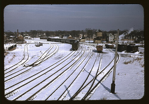 [Train and several sets of railroad tracks in the snow, Massachusetts] (LOC)