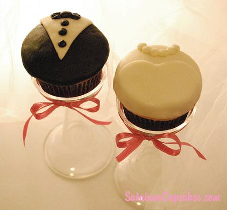 Wedding dress and tux cupcakes perfect for your special occasion