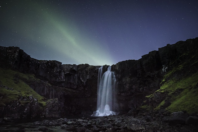 Twilight aurora above Gugufoss, Seydisfjordur.