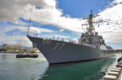 In this file photo, USS O'Kane (DDG 77) departs Joint Base Pearl Harbor-Hickam on deployment in March. (U.S. Navy/MC3 Diana Quinlan)