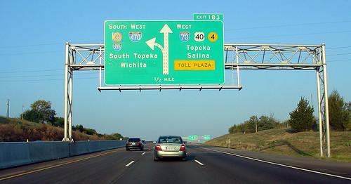 green sign october ramp freeway kansas tollway expressway topeka overhead i70 k4 2007 us40 interchange 1000views interstate70 kta bgs interstatehighway i470 kansasturnpike driverpic exit183 interstate470
