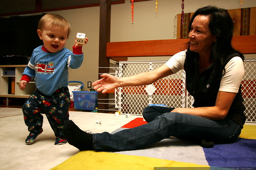 grandma teaching sequoia to throw anything and everything around our living room    MG 6133