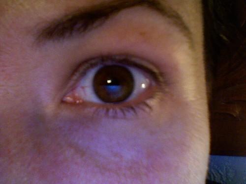 glow of computer screen in my eye