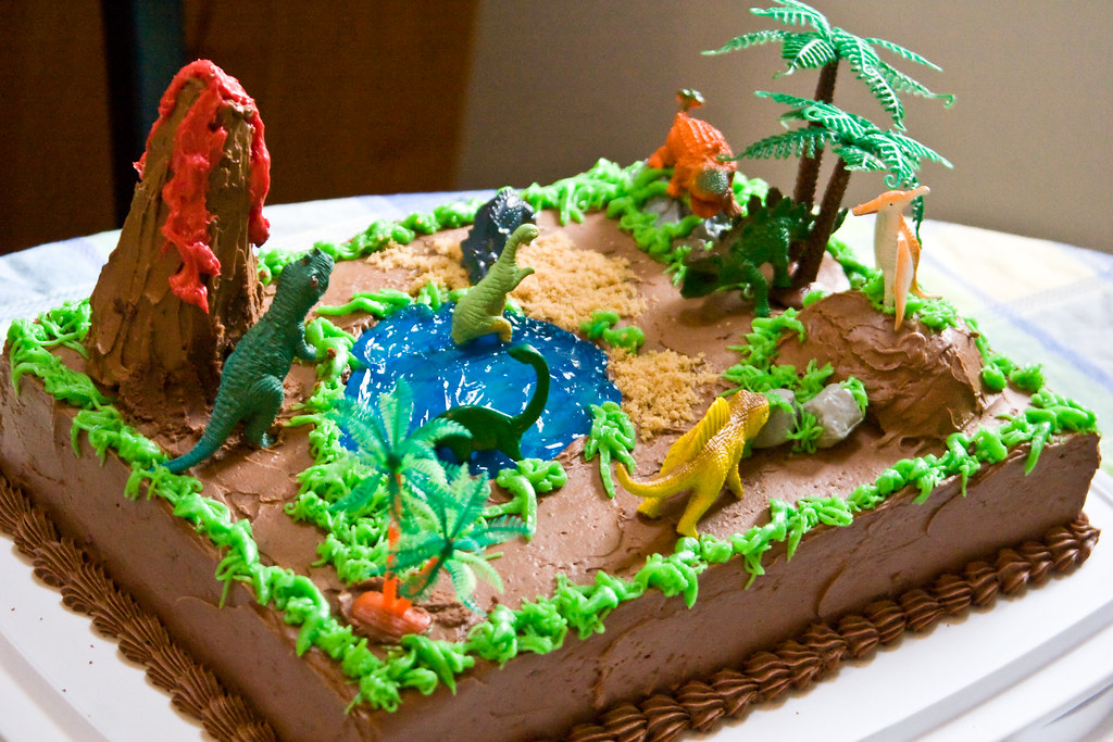 Kid's 4th Delicious Dinosaur Swiss Butter Cream Birthday Cake home made by Barb